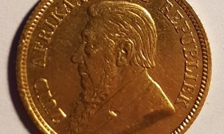 South Africa VF 1895 Gold Half Pond, mount mark .1176oz AGW