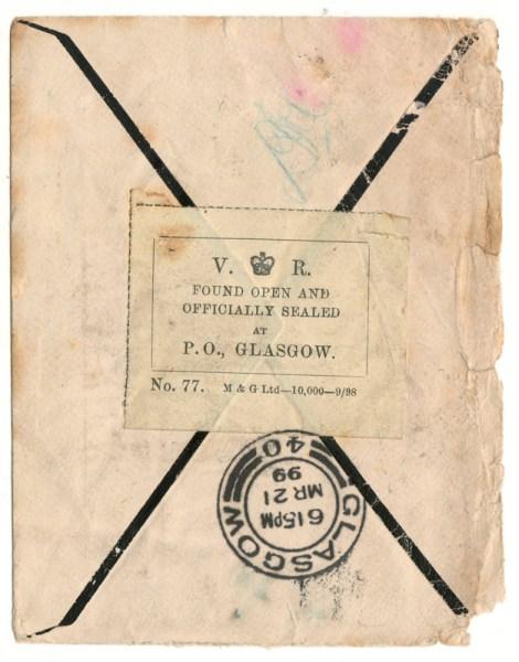 back of envelope, officially sealed stamp