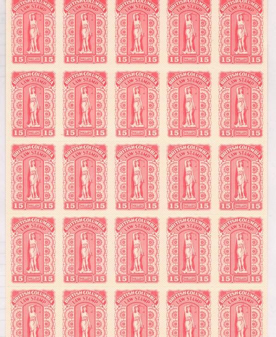 British Columbia #BCL65 VFNH 1981 $15 Rose Plate #0065 Sheet (25)