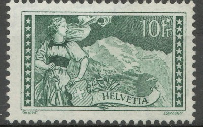 Switzerland #185 F/VF Never Hinged 1930 10 Fr Gray Green