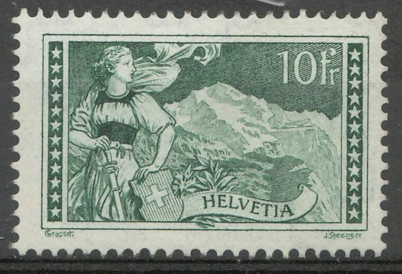 Switzerland #185 F/VF Never Hinged 1930 10 Fr Gray Green