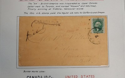 Page 35, Victoria, V.I. Missent 10c Washington 1860 Cover, Fraser River Gold Rush Collection