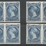 Canada #FB27P-FB30P VF 1865 10c-50c Imperf Proof Pairs on card (8)