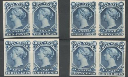 Canada #FB27P-FB30P VF 1865 10c-50c Imperf Proof Pairs on card (8)
