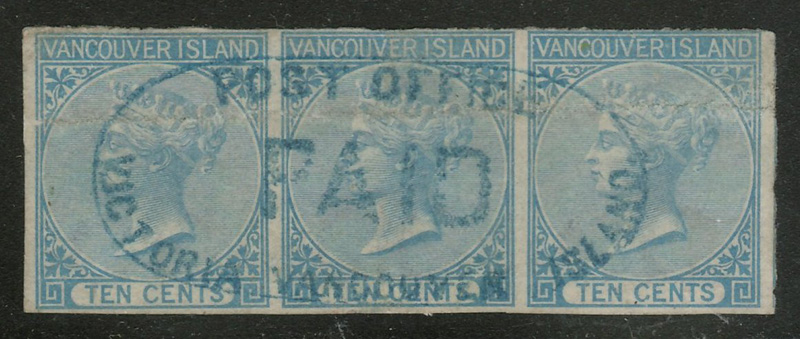 B.C. #4 Fine Post Office Paid Blue Oval Used Strip, crease $3000. (3)