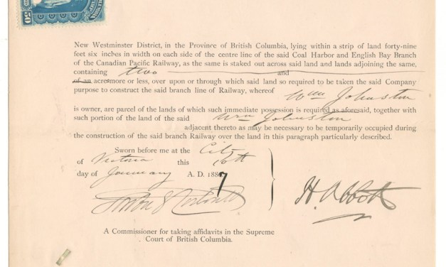 Harry Abbott signed 1887 C.P.R. completion Supreme Court document