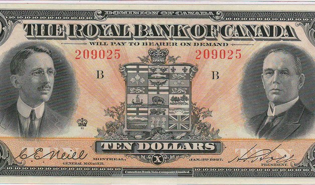 Royal Bank of Canada Unc 1927 Neill/Holt $10 Banknote