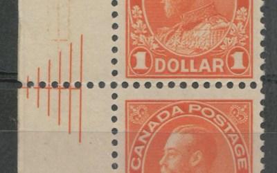 Canada #122iii Fine NH 1923 $1 Admiral Pyramid Guide Pair