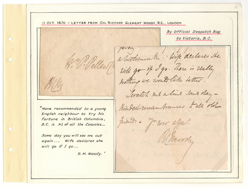 letter and  cover on wellburn album page with notes