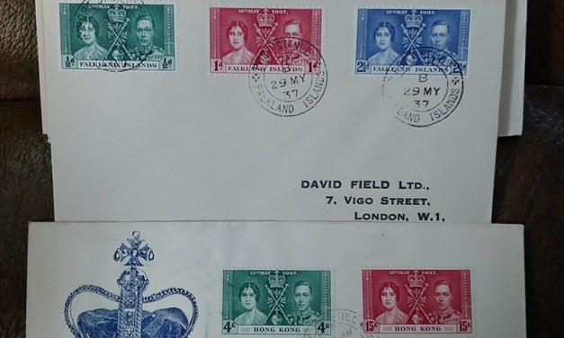 1937 Coronation 45 diff A/V Covers & FDCs incl Hong Kong