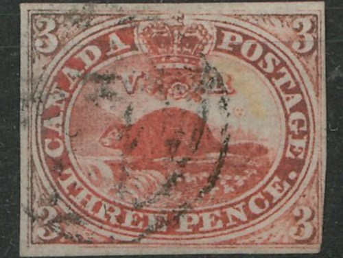 Canada #1 F/VF Used 1851 3d Beaver, Laid Paper