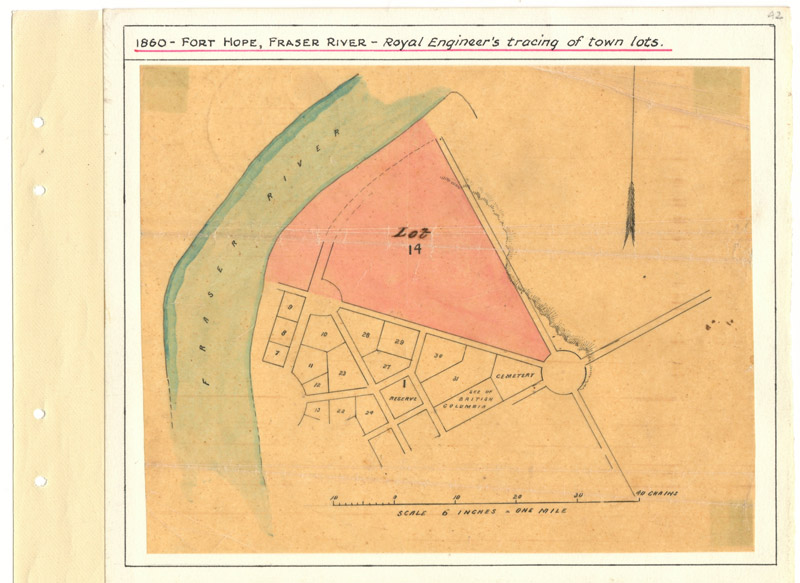Page 42, Fort Hope, B.C. 1860 Royal Engineers Tracing of Town Lots, Fraser River Gold Rush Collection