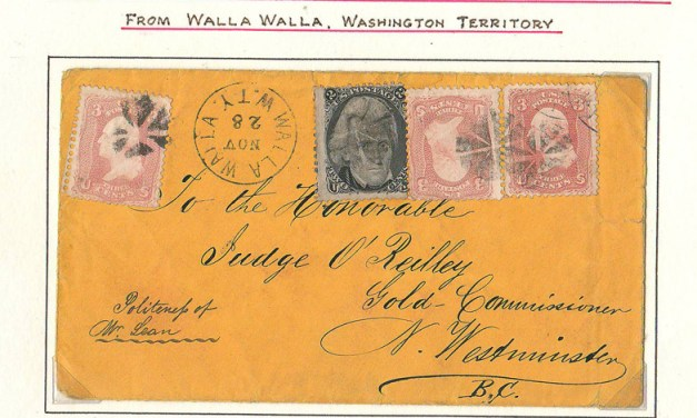 Page 44, Judge O'Reilly 1867 11c Walla Walla/New Westminster Cover, Fraser River Gold Rush collection