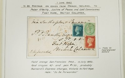 Page 41, Omagh 1862 three-colour franked O'Reilly Cover to Fort Hope, Fraser River Gold Rush Collection