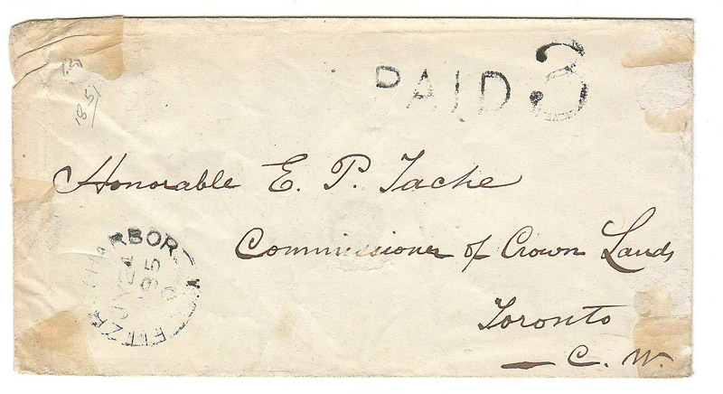 Fitzroy Harbor, C.W. 1857 Paid 3 Stampless Cover to Sir Étienne-Paschal Taché, Toronto