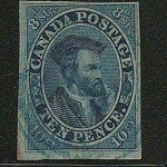 Canada #7 Fine blue cancel Used 1855 10d Cartier, Thin Paper