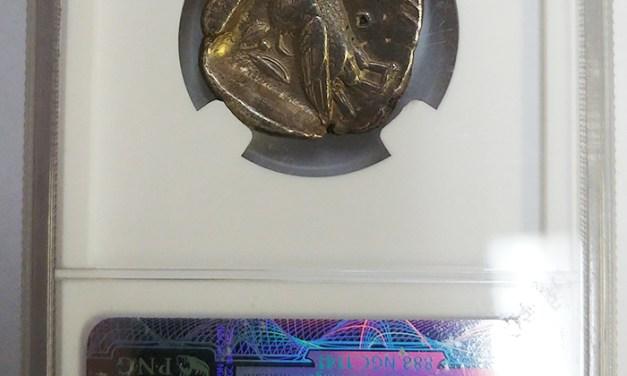 Athens 454-405BC NGC Owl Silver Tetradrachm w/ countermark