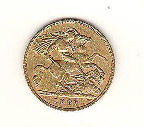 G.B. VF 1907 Edward VII Gold Half Sovereign .1177oz AGW