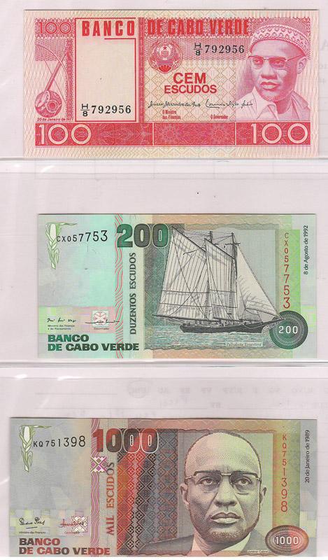 three bank notes - front