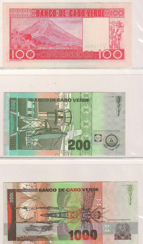 three bank notes - back