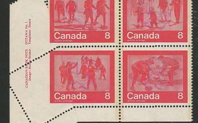 Canada #644-647var Misperf Foldover Olympic Plate Block (4)