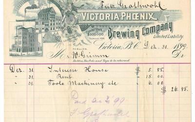 Victoria-Phoenix Brewing 31 De 1895 illustrated invoice, ex Wellburn
