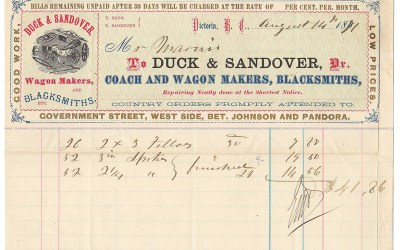 Duck & Sandover Wagon Makers 14 Au 1871 colour Invoice ex Gerald Wellburn