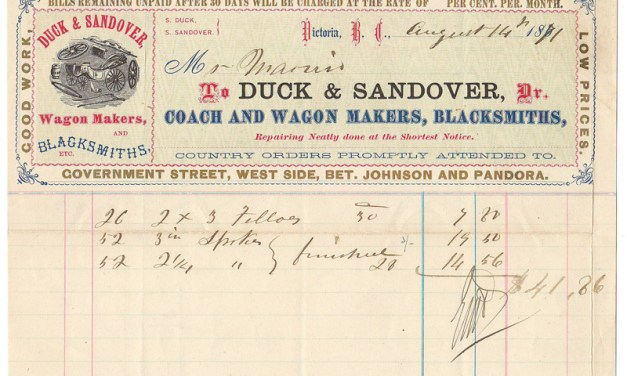Duck & Sandover Wagon Makers 14 Au 1871 colour Invoice ex Gerald Wellburn