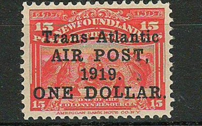 Newfoundland #C2 1919 $1 on 15c Airmail