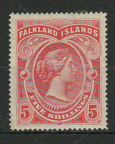 Falkland Islands #21 1898 5/- Brown Red