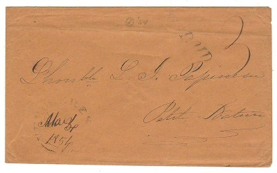 Louis Joseph Papineau addressed 3 Mar 1854 Paid 3 Cover