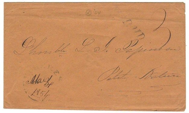 Louis Joseph Papineau addressed 3 Mar 1854 Paid 3 Cover