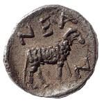Troas, Neandria circa 400 BC Silver Obol w/ Apollo & Ram