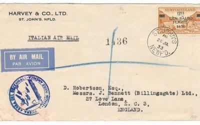 Newfoundland #C18 26 Jul 1933 $4.50 Registered Balbo First Day FFC