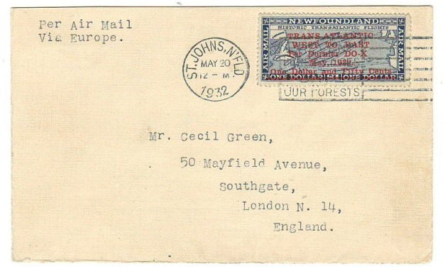 Newfoundland #C12 20 May 1932 Cecil Green DO-X Cover to London