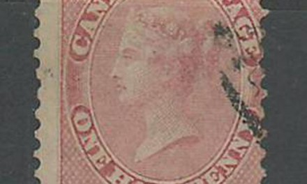 Canada #11 VG Used 1858 Perforated 1/2d Rose