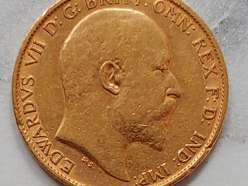 Lot 194 Great Britain VF 1902 Edward VII Gold Half Sovereign, mt mks .117oz
