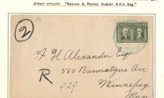 Regina & Prince Albert R.P.O. 1908 7c Quebec Reg Cvr on Wellburn pg