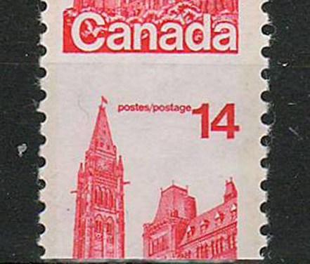 Canada #730var 1978 14c Coil Dramatic Misperf