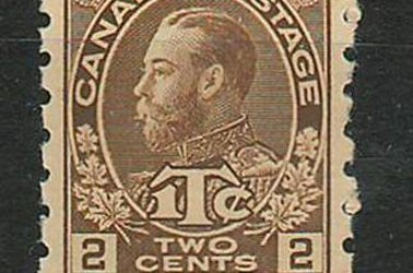 Canada #MR7iii 1916 Yellow Brown Die 1 Coil