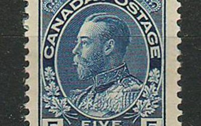 Canada #111 5c Admiral w/ large margin, bends