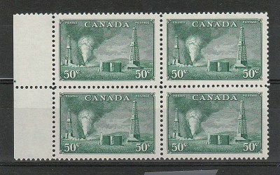Canada #294 1950 50c Oil Wells left margin Block (4)