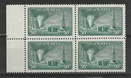 Canada #294 1950 50c Oil Wells left margin Block (4)