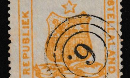 Stellaland #2 Fine 3-ring 6. Used 1884 3d Arms, margin tear