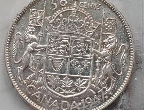 Canada ICCS AU55 1947 Maple Leaf S7 over 7 Silver 50 Cents