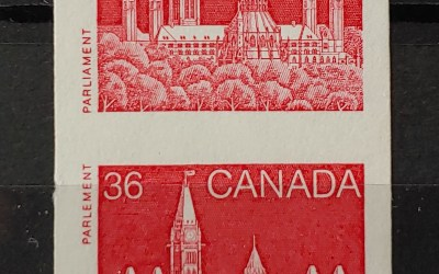 Canada #953a VF+ Never Hinged 1987 36c Imperforate Pair