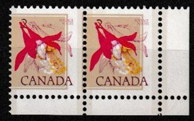 Canada #707var Never Hinged LR 1977 2c Misprint Pair