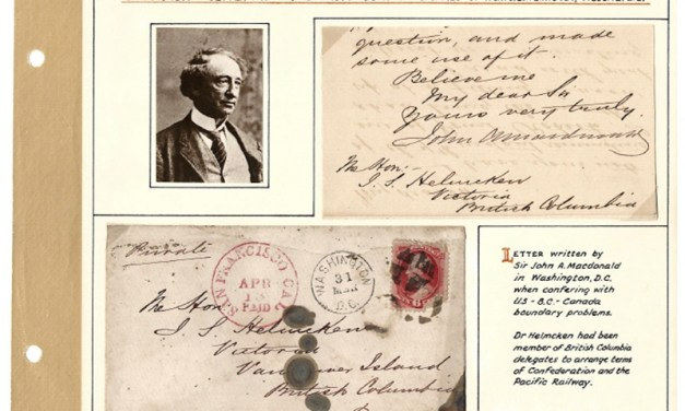 1871 Letter from John A Macdonald to Helmcken in our Milestone 1300th Auction