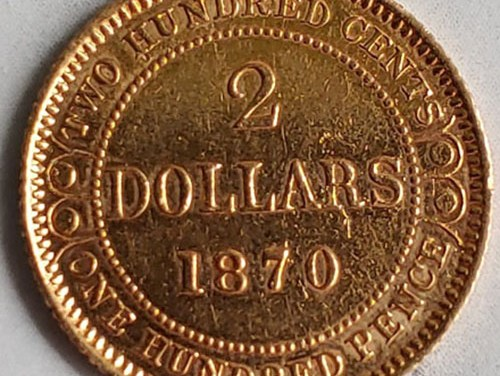 Newfoundland XF 1870 Gold 2 Dollars, mount marks