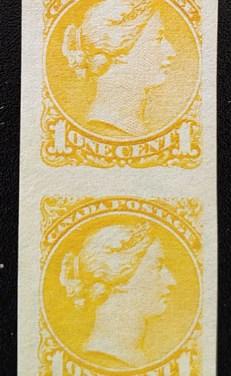 Canada #35b VF Unused 1c Small Queen Imperforate Pair